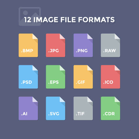 Image file formats. Photo and graphic file type icons Stock Vector - 50314212
