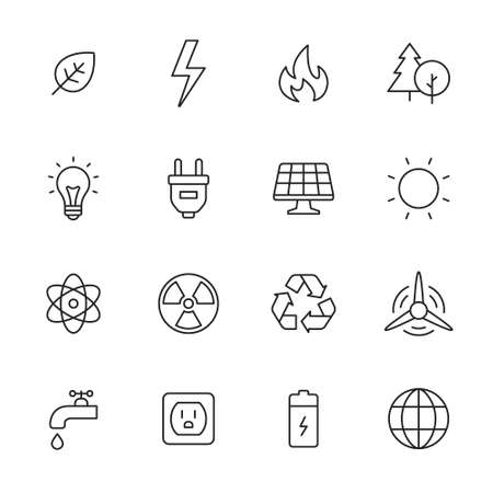 fire icon: Ecology and energy line icons. Vector icon set