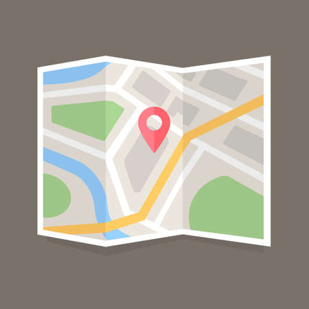 Folded map with location marker. Flat vector map icon Illustration