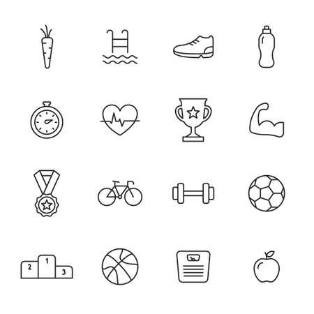 Sport and fitness thin line icons set