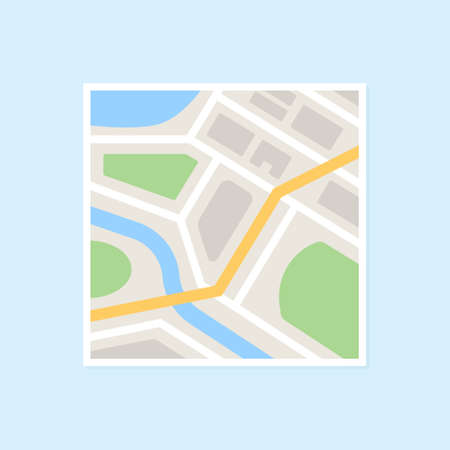Simple town map with roads, streets, river, park and highway