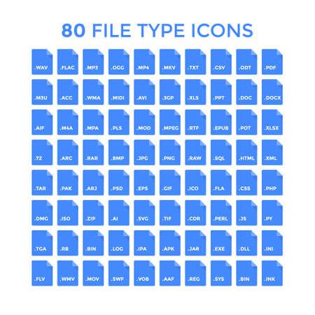 File type icons set. Vector file format labels