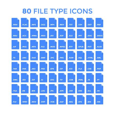 svg: File type icons set. Vector file format labels