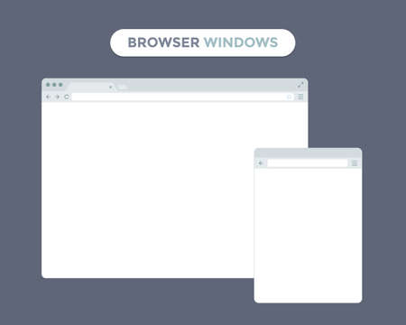 web browser: Desktop and mobile phone browser windows. Different devices web browser