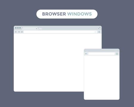 Escritorio y las ventanas del navegador del teléfono móvil. Los distintos dispositivos navegador web