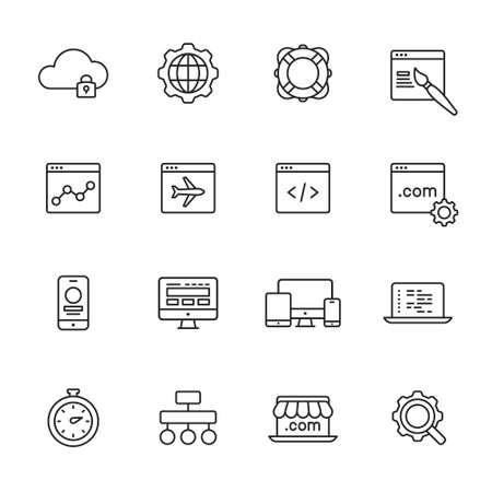 Web development line Icons Illustration