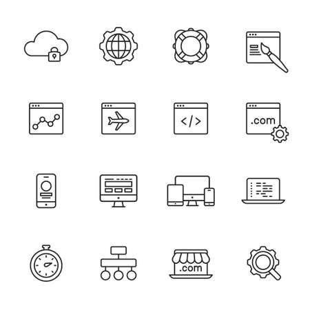 Web development line Icons 向量圖像