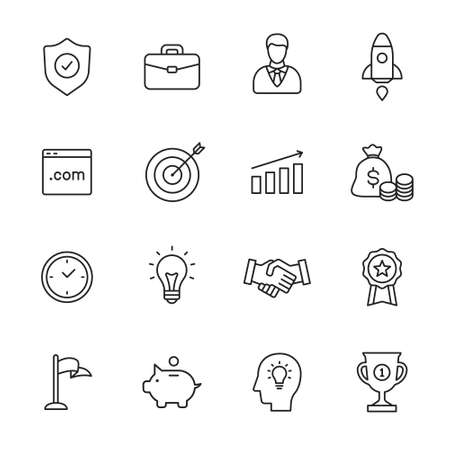 quality work: Business line icons