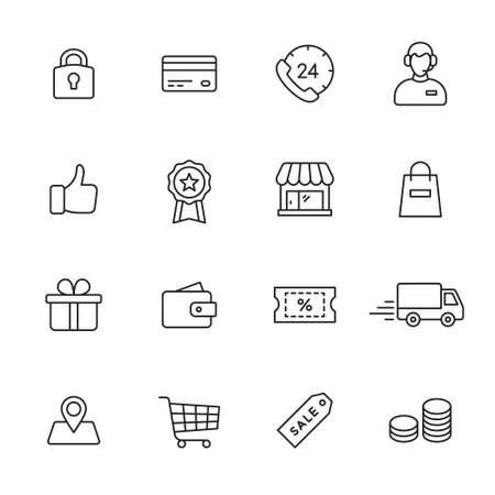 icônes de ligne commercial