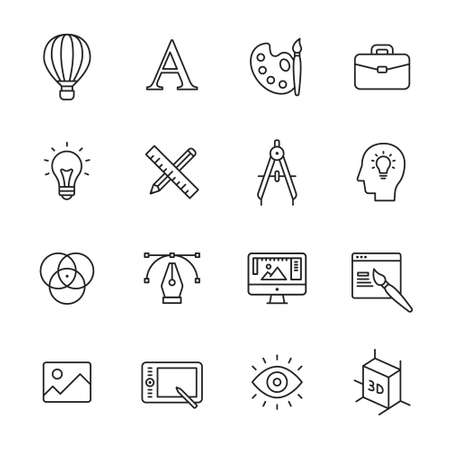 thin bulb: Graphic and web design line icons