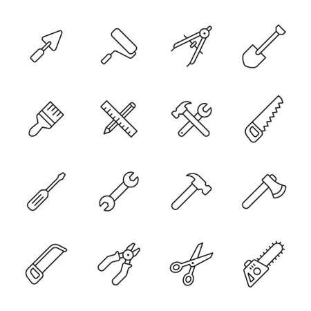 Outils d'icônes de lignes Vecteurs