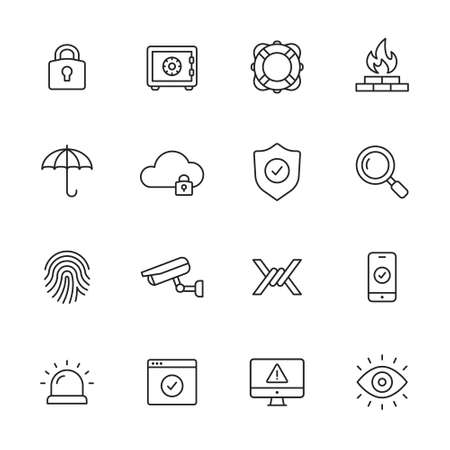 Protection and security line icons