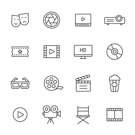 Cinema and movie line icons
