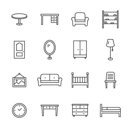 Furniture line icons Illustration