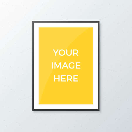 Blank poster mock up with black frame on concrete wall. Realistic A4 white sheet mockup template Illustration