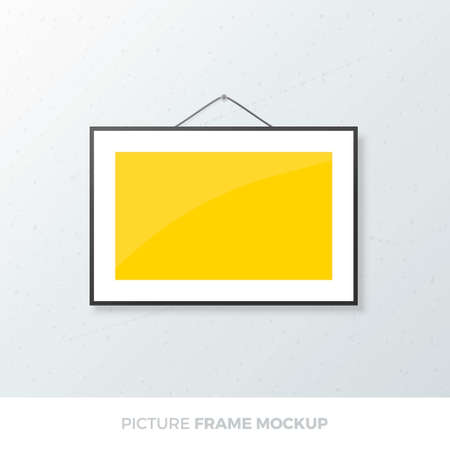 Photo frame mockup. Realistic wall picture frame A5 template