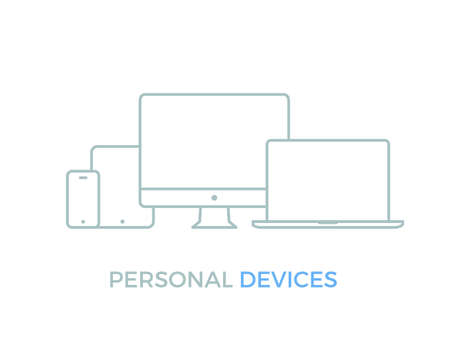 Modern electronic devices. Line style illustration of pc, laptop, tablet and phone.