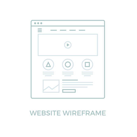 website window: Website Wireframe. Landing page line icon. Web page user interface in browser window