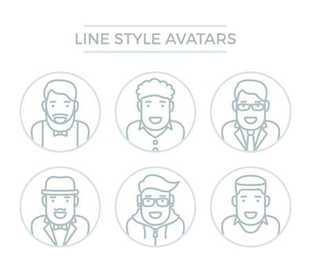 Line avatar icon set. Male persons portraits of hipster, businessman, student. People with faces, human illustration Illustration
