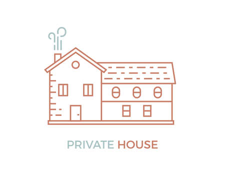 private: Line house. Simple illustration of private house. Illustration