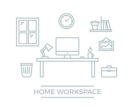 Freelance designer workspace. Flat line developer workplace illustration. Home office with desk computer, clock, wall picture and bookshelf Vektorové ilustrace