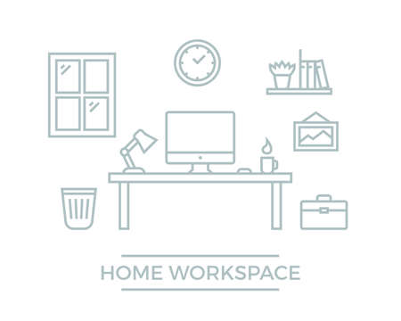 Freelance designer workspace. Flat line developer workplace illustration. Home office with desk computer, clock, wall picture and bookshelf