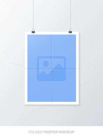 Realistic poster mock up. Realistic blank A4 folded poster mock-up template with paper clips