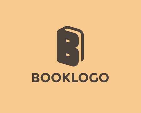 Book logo design template. Letter B symbol, book icon. book store logo element