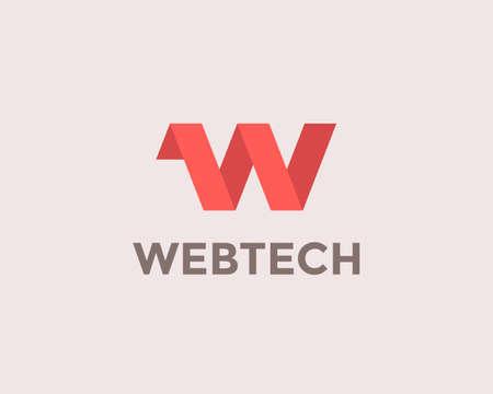 Letter W logo design template element. Web marketing app icon. Web technology sign logo for website tech Illustration