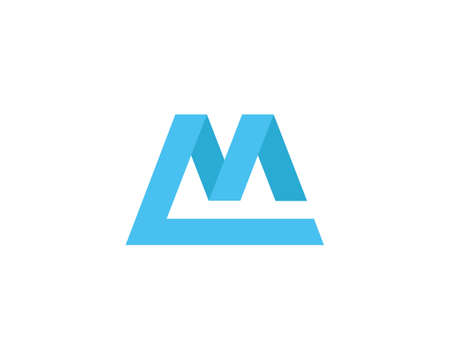 ml: Letter M logo design template element. Flat web app logo icon, marketing or mobile symbol