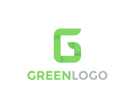 Green letter G logo design template. Ecology eco symbol element. Flat growth logo and vector app icon Illustration