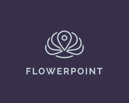 Flower logo design template. Yoga spa logo element. lotus symbol line icon