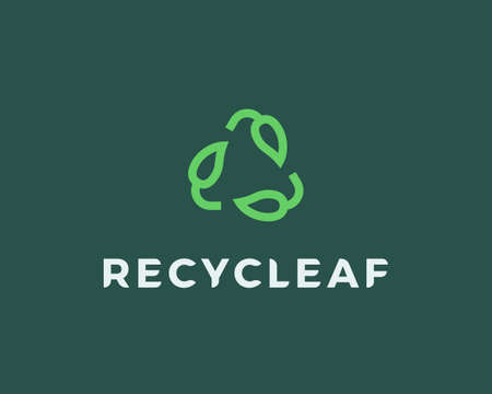 Recycle logo design template. Recycling symbol and leaf sign. Ecology icon green element Vectores