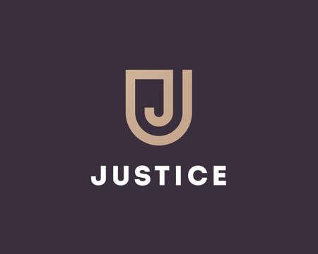 escudo: Letra J plantilla de dise�o del logotipo. s�mbolo de escudo combina con J monograma. signo jur�dica y la justicia Vectores
