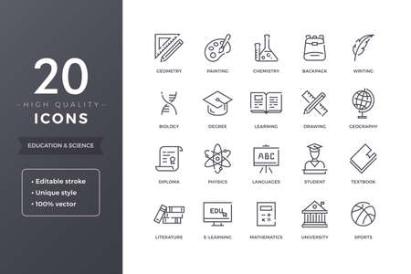 Education and Science Line Icons Stock Vector - 80902762
