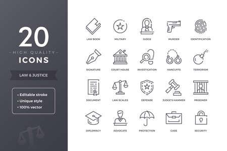 Law Line Icons 向量圖像