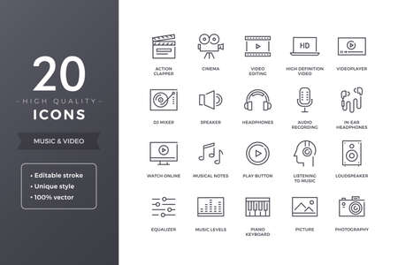 Music and Video Line Icons Illustration