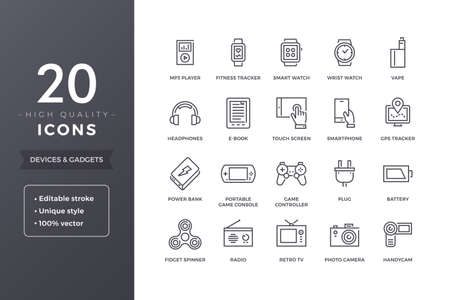 handycam: Electronic Devices Line Icons