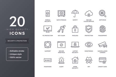 Security Line Icons Illustration