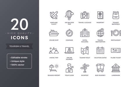 Travel Line Icons Stock Vector - 85137856