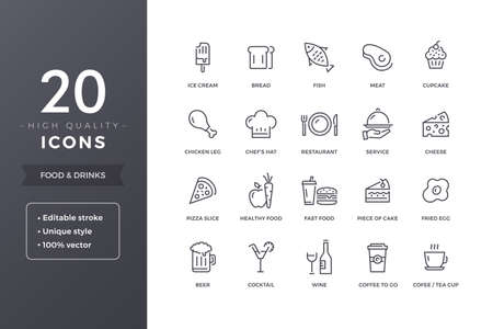 Food Line Icons Stock Vector - 100788689