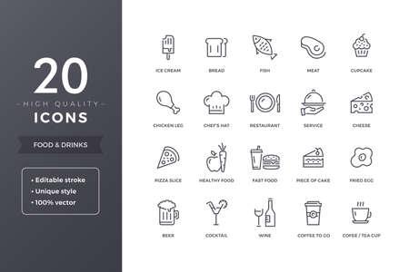 Food Line Icons Illustration