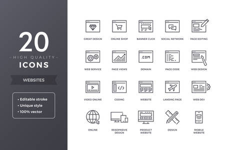 Website Line Icons Illustration