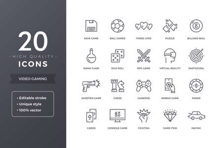 Video Game Line Icons Illustration