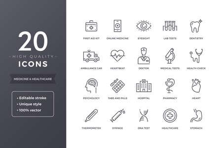 Medical Line Icons Illustration