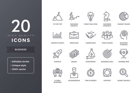 Business Line Icons Vectores