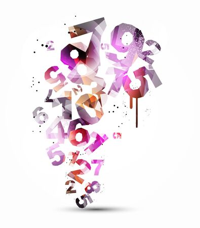 Colorful numbers abstract background