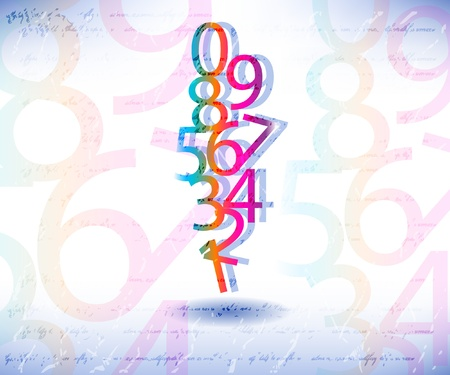 Compositions of colored number Stock Vector - 9842653