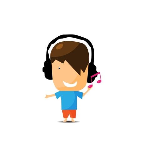 jonge jongen luisteren muziek Stock Illustratie
