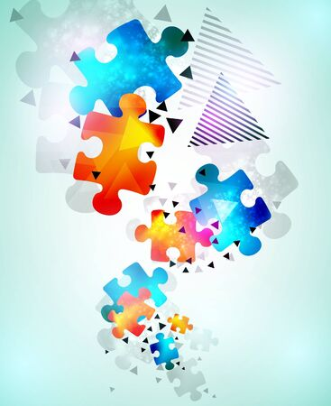 expertise concept: abstract puzzle shape colorful design